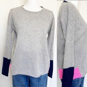360 Sweater Cashmere grey color block crewneck S